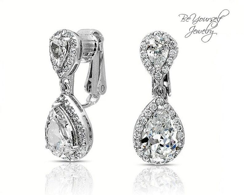 Clip On Bridal Earrings White Crystal Teardrop Bride Earrings image 0
