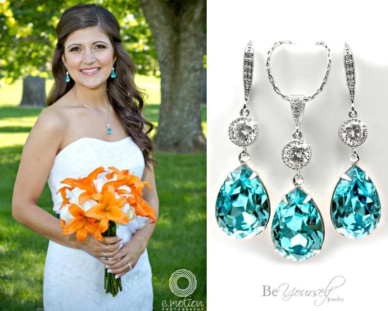 Teal Wedding Jewelry Sea Green Bridal Earrings Teardrop Bride image 0