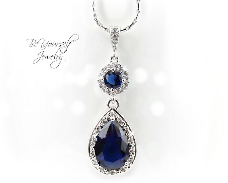 Sapphire Bridal Necklace Navy Blue Teardrop Bride Necklace image 0