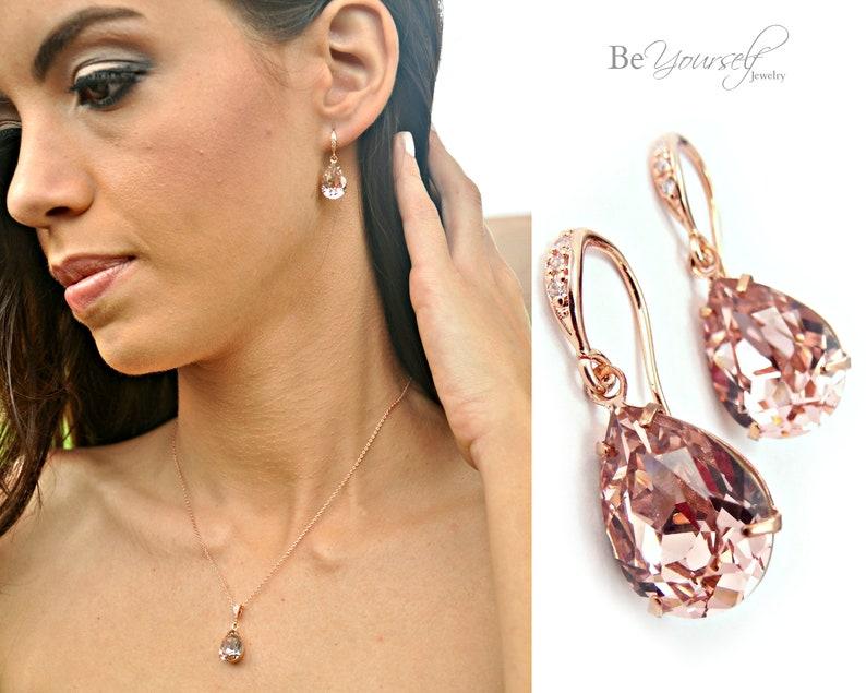 Soft Pink Bridal Earrings Blush Teardrop Bride Earrings Rose Earrings + Bracelet