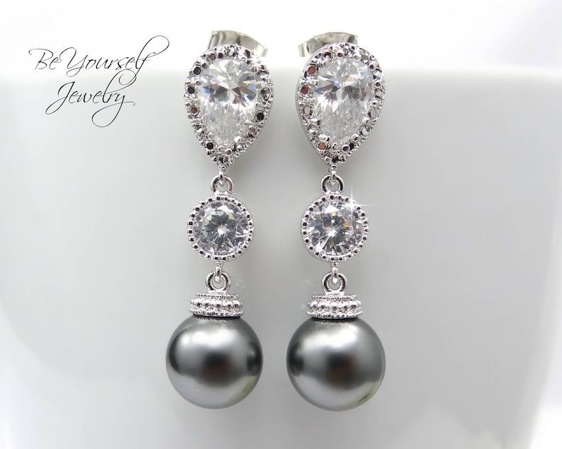 Dark Gray Bridal Earrings Grey Pearl Bride Earrings Charcoal image 0