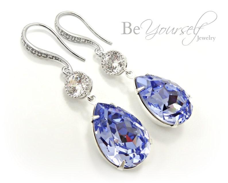 Lavender Bridal Earrings Lilac Teardrop Bride Earrings image 0
