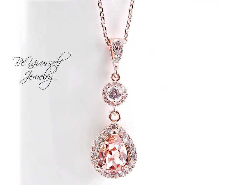 Soft Pink Bridal Necklace Wedding Jewelry Rose Gold Bride image 0