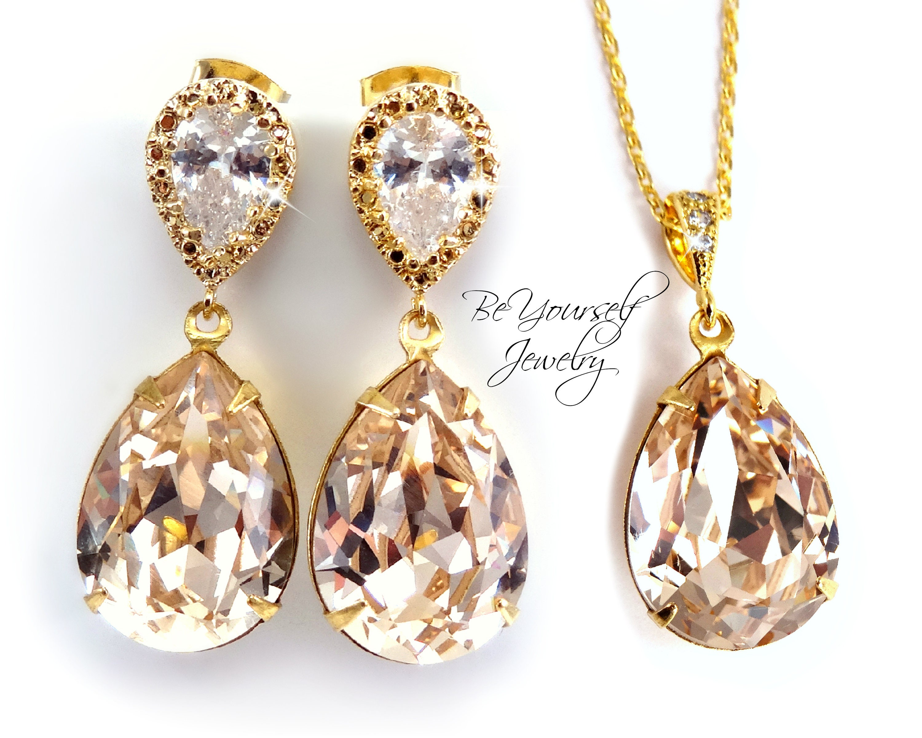 Champagne Bridal Earrings Gold Teardrop Bride Necklace