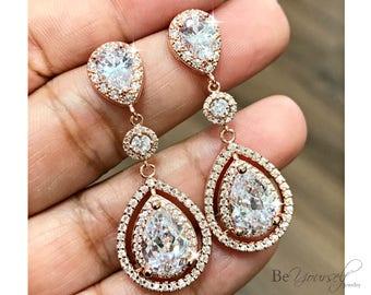 White Crystal Wedding Earrings Rose Gold Teardrop Bridal Earrings Cubic Zirconia Bride Earrings Bridesmaid Gift Sterling Wedding Jewelry