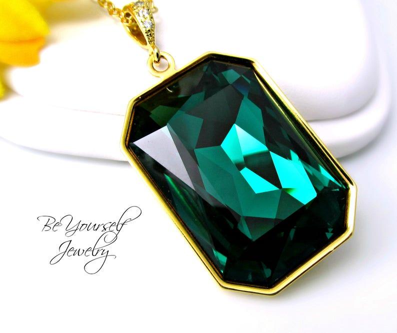 Emerald Green Necklace Swarovski Crystal Emerald Cut Long image 0