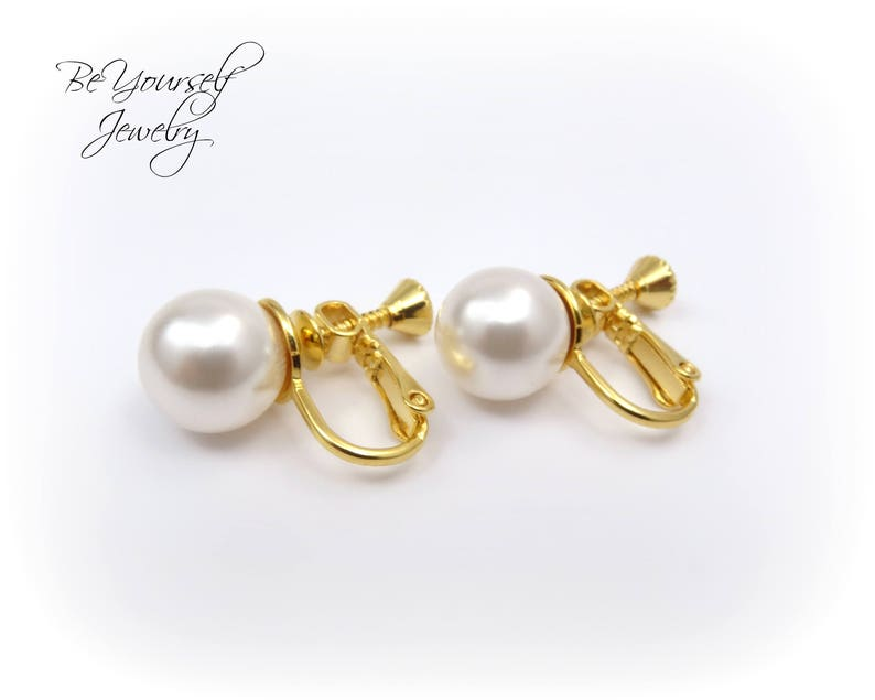 Clip On Pearl Bridal Earrings Bridesmaid Gift Wedding Jewelry image 0