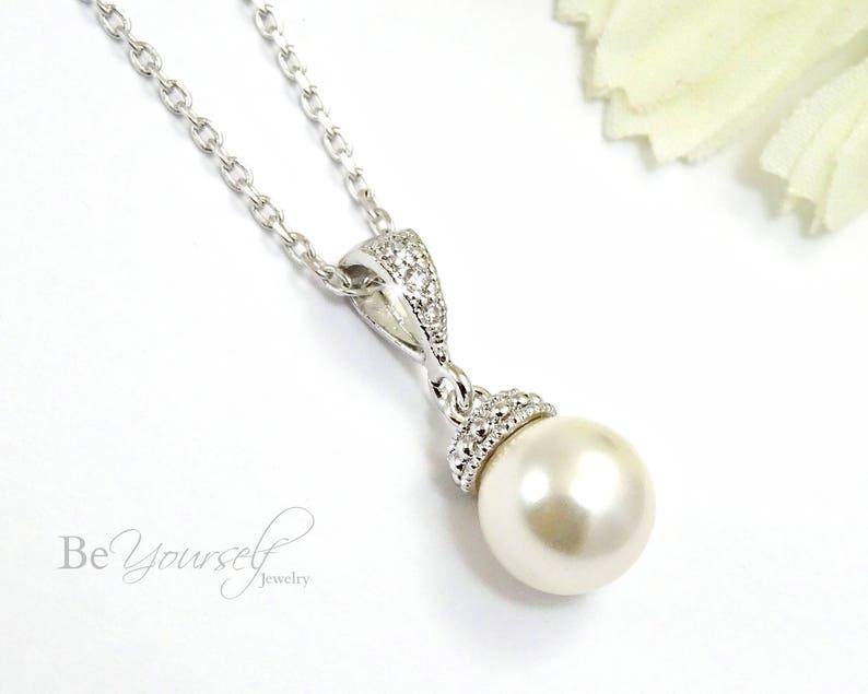 Pearl Bridal Necklace Wedding Jewelry Delicate Pearl Bride image 0