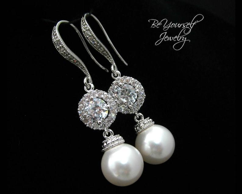Pearl Bridal Earrings White Crystal Bride Earrings Swarovski image 0