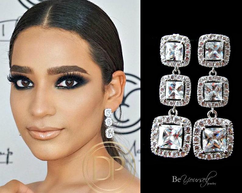 White Crystal Bridal Earrings Statement Bride Earrings Square image 0