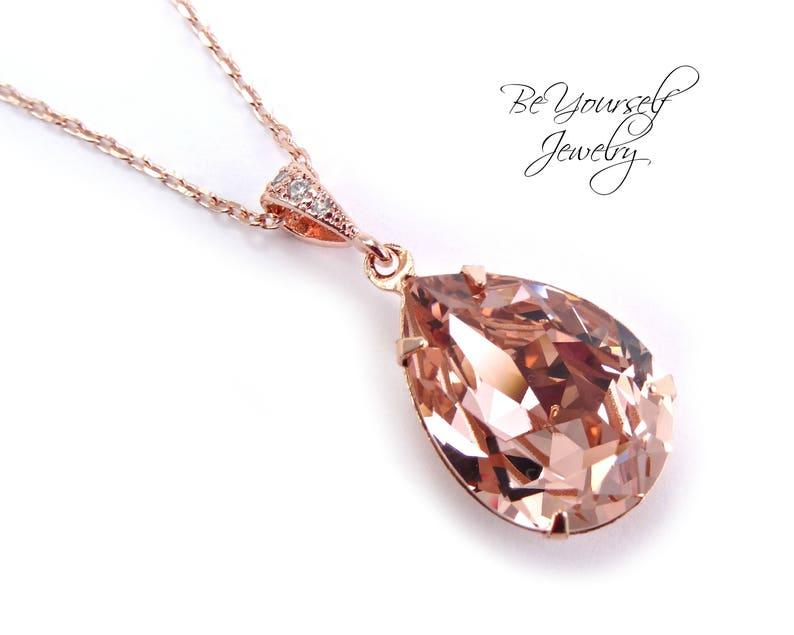 Blush Bridal Necklace Rose Gold Wedding Jewelry Soft Pink image 0