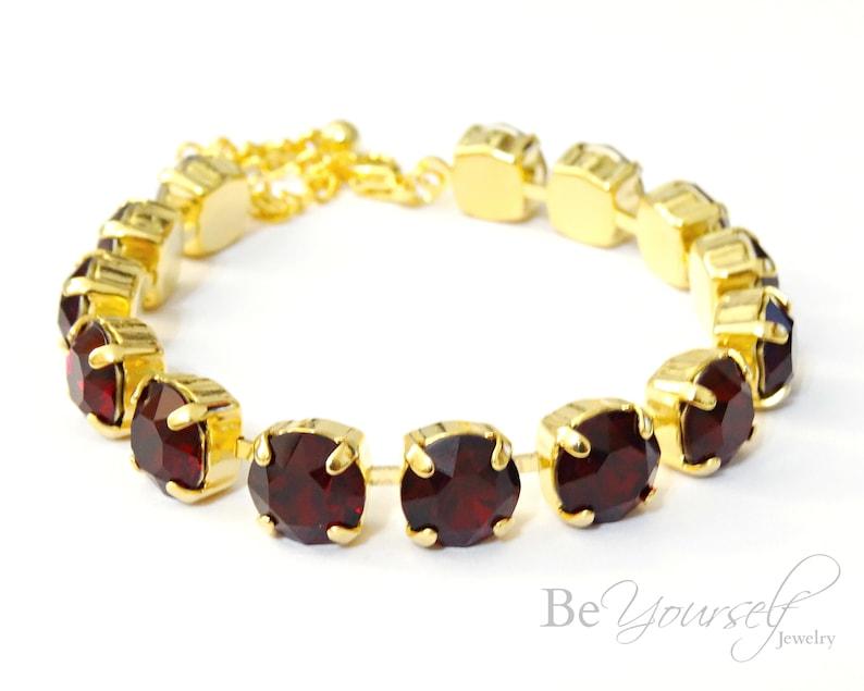 Dark Red Bridal Bracelet Gold Siam Bride Bracelet Swarovski image 0