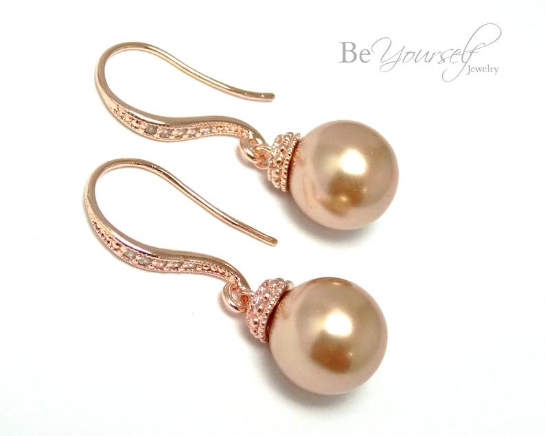 Rose Gold Bridal Earrings Copper Pearl Bride Earrings Wedding image 0