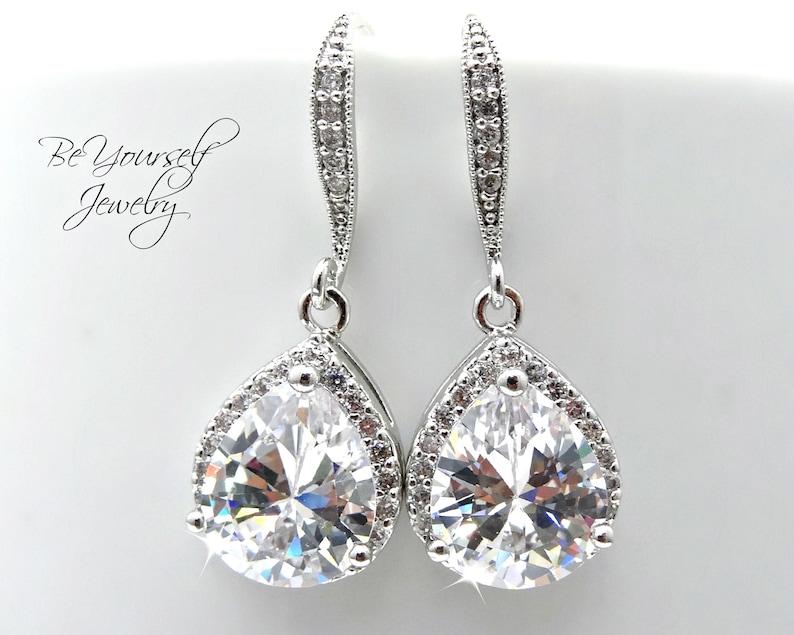 White Crystal Wedding Earrings Teardrop Bridal Earrings Cubic image 0