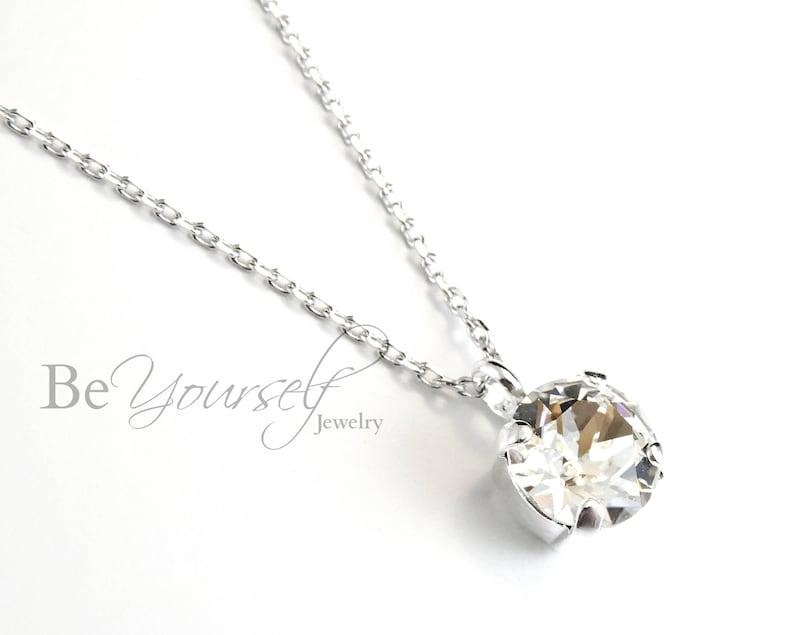 White Crystal Bridal Necklace Delicate Bride Necklace image 0