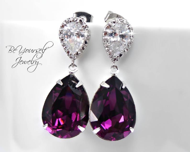 Amethyst Bridal Earrings Purple Teardrop Bride Earring Plum image 0