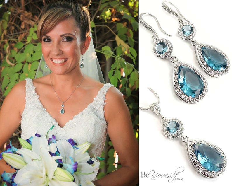 Aquamarine Bridal Earrings Soft Blue Bride Necklace Cubic image 0