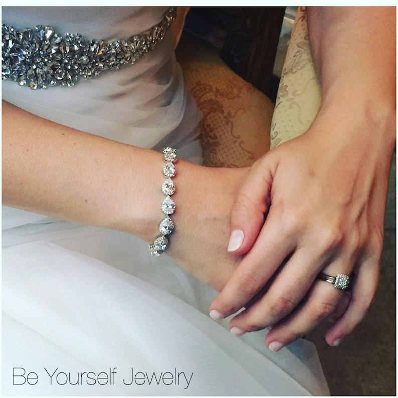 Bridal Bracelet Teardrop Bride Bracelet Wedding Jewelry Cubic image 0