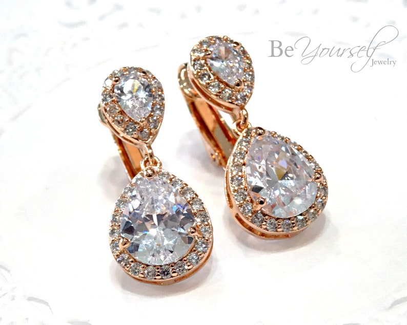 Rose Gold Clip On Bridal Earrings White Crystal Teardrop Bride image 0