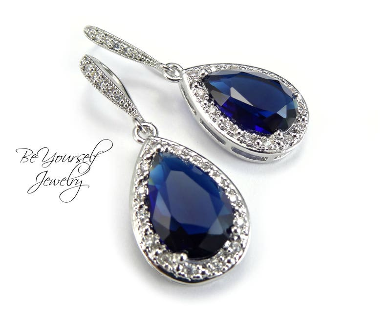 Sapphire Bridal Earrings Navy Blue Teardrop Bride Earrings image 0
