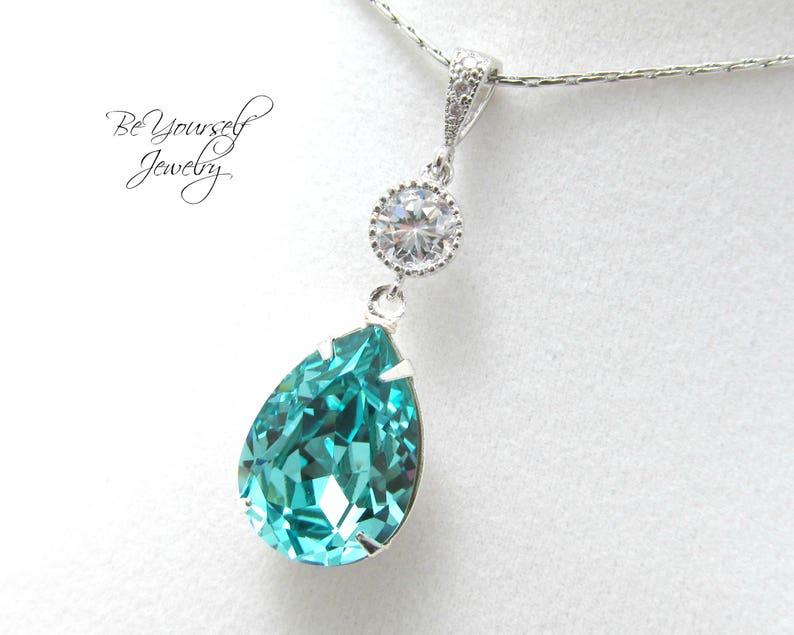 Teal Blue Bridal Necklace Sea Green Teardrop Bride Pendant image 0