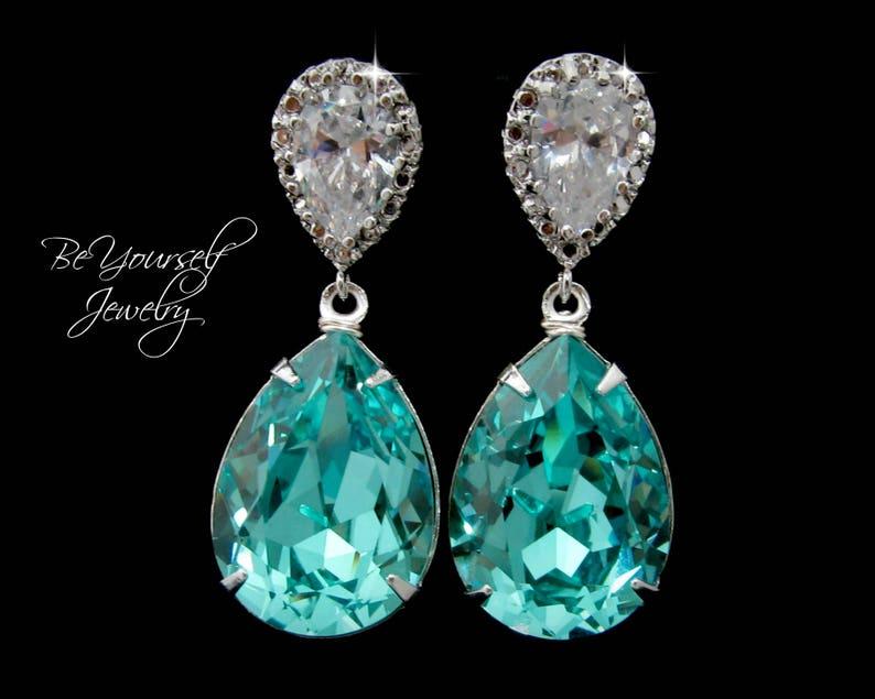 Teal Blue Bridal Earrings Sea Green Teardrop Bride Earrings image 0
