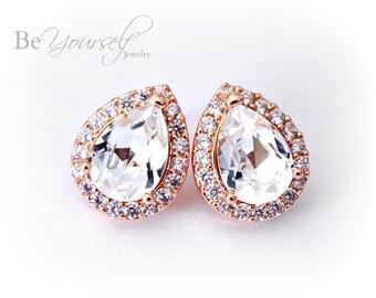 White Crystal Bridal Earrings Teardrop Bride Studs Rose Gold Wedding Jewelry Swarovski Crystal Cluster Earrings Sterling Bridesmaid Gift