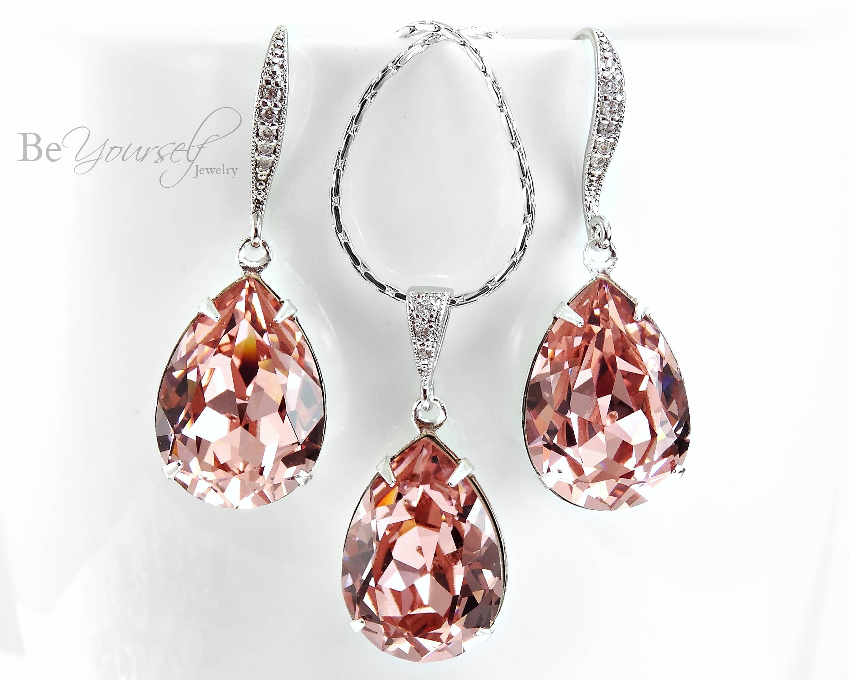 333bb1293 Blush Bridal Earrings Soft Pink Teardrop Bride Necklace Pastel | Etsy