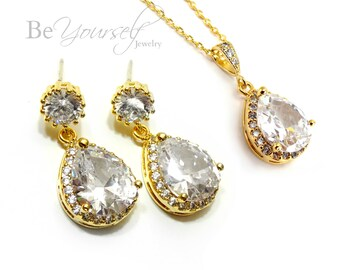 White Crystal Wedding Jewelry Gold Bridal Earrings Teardrop Bride Necklace Cubic Zirconia Wedding Earrings Bridesmaid Gift Sterling Earrings