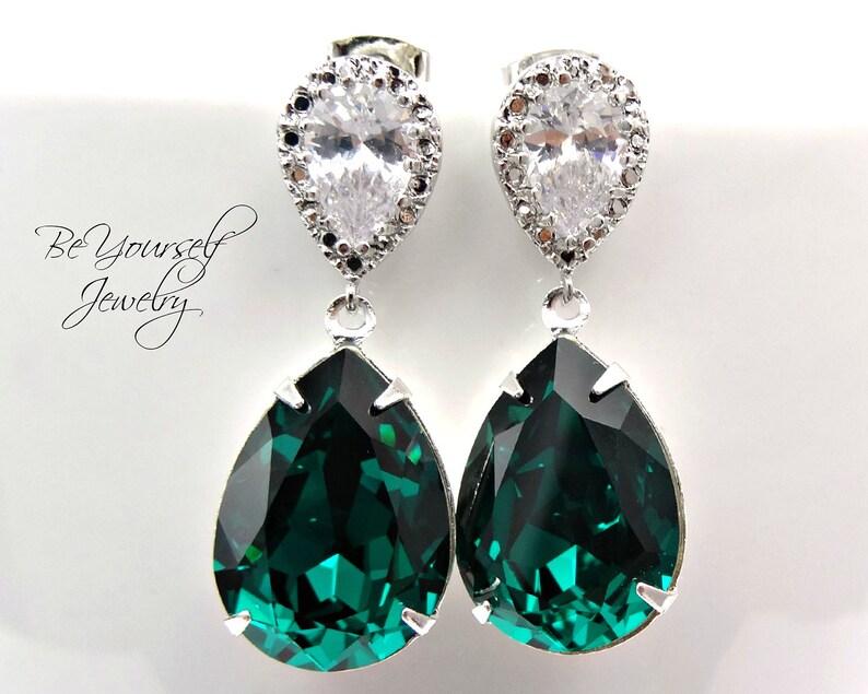 0b64616bd69e7 Emerald Bridal Earrings Green Teardrop Bride Earrings Wedding Jewelry  Swarovski Crystal Wedding Earrings Sterling Dark Green Bridesmaid Gift