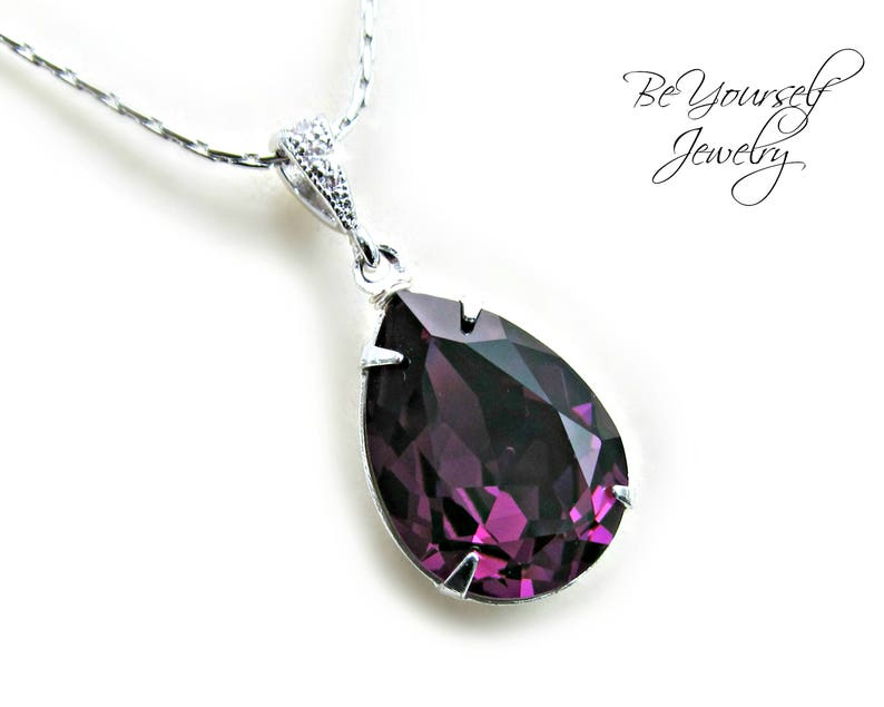 Amethyst Bridal Necklace Purple Teardrop Bride Necklace image 0