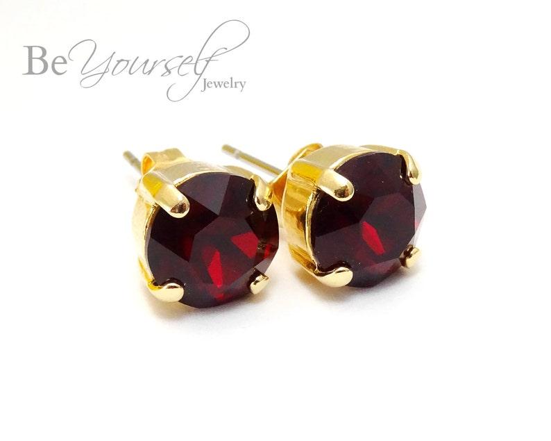 Red Bridal Studs Gold Bride Earrings 8mm Swarovski Crystal image 0