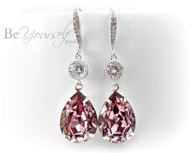 Mauve Bridal Earrings Dusty Pink Teardrop Bride Earring image 0