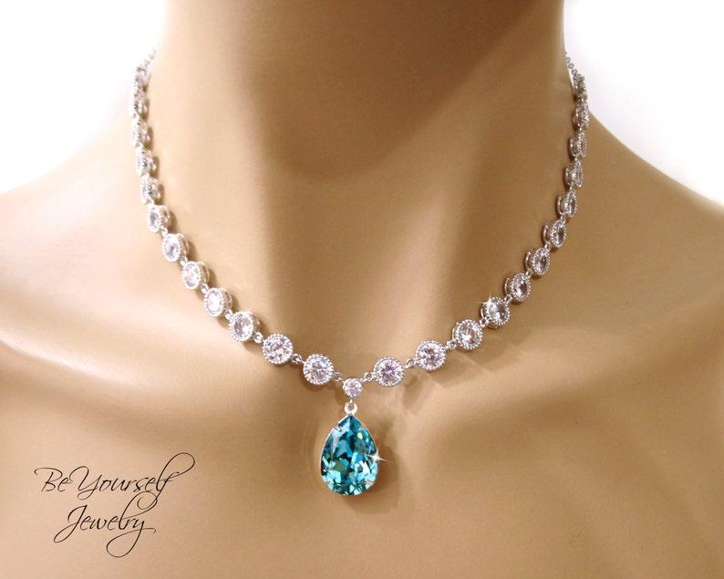 Teal Blue Bridal Necklace Sea Green Teardrop Bride Necklace image 0