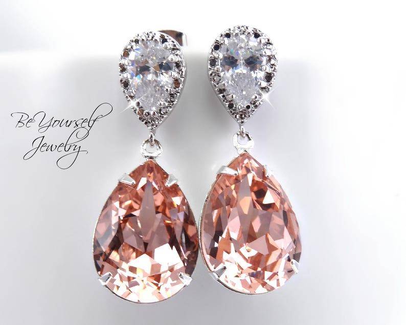Blush Bridal Earrings Soft Pink Teardrop Bride Earrings image 0