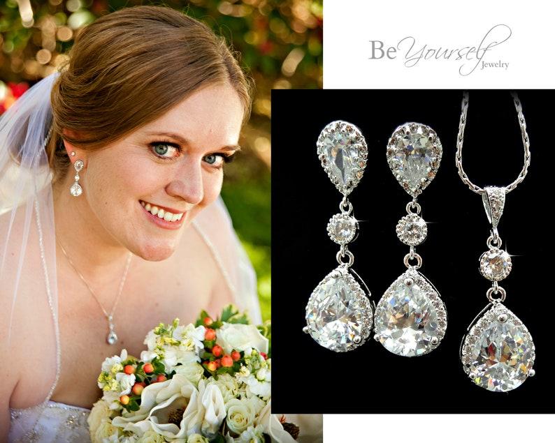 White Crystal Wedding Jewelry Bridal Earrings Teardrop Bride Earrings + Necklace