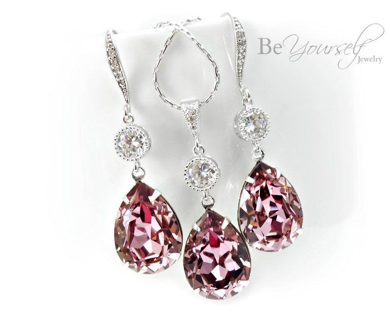 Mauve Bridal Earrings Dusty Pink Teardrop Bride Necklace image 0