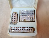 Makeup case compact set with pearl compact, lipstick and comb by WIESNER, 1950 39 s