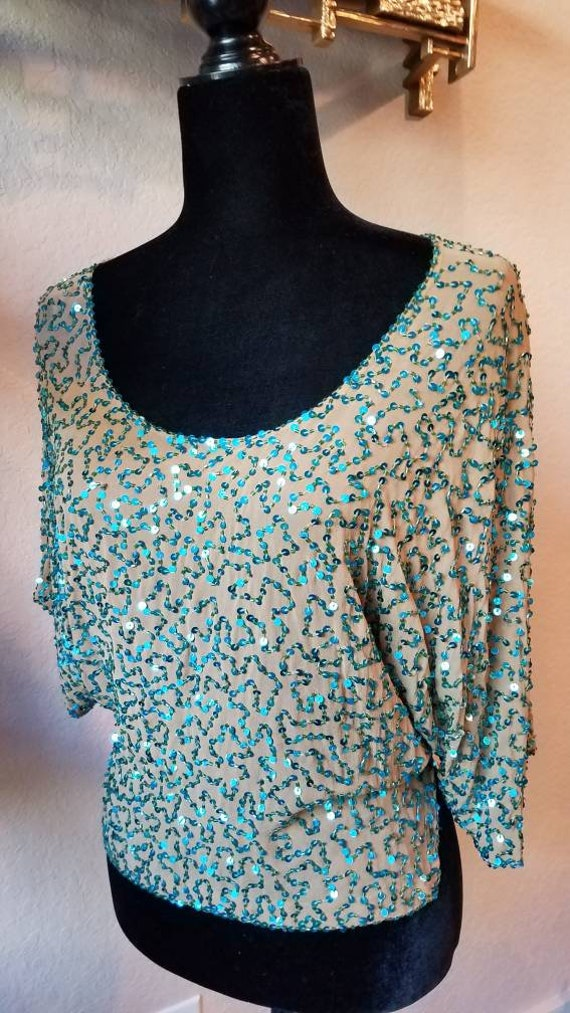 Blue sequins top silk designer Dolce and Gabbana,