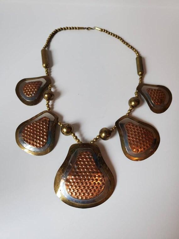 Brass brutalist necklace vintage metal,1970's