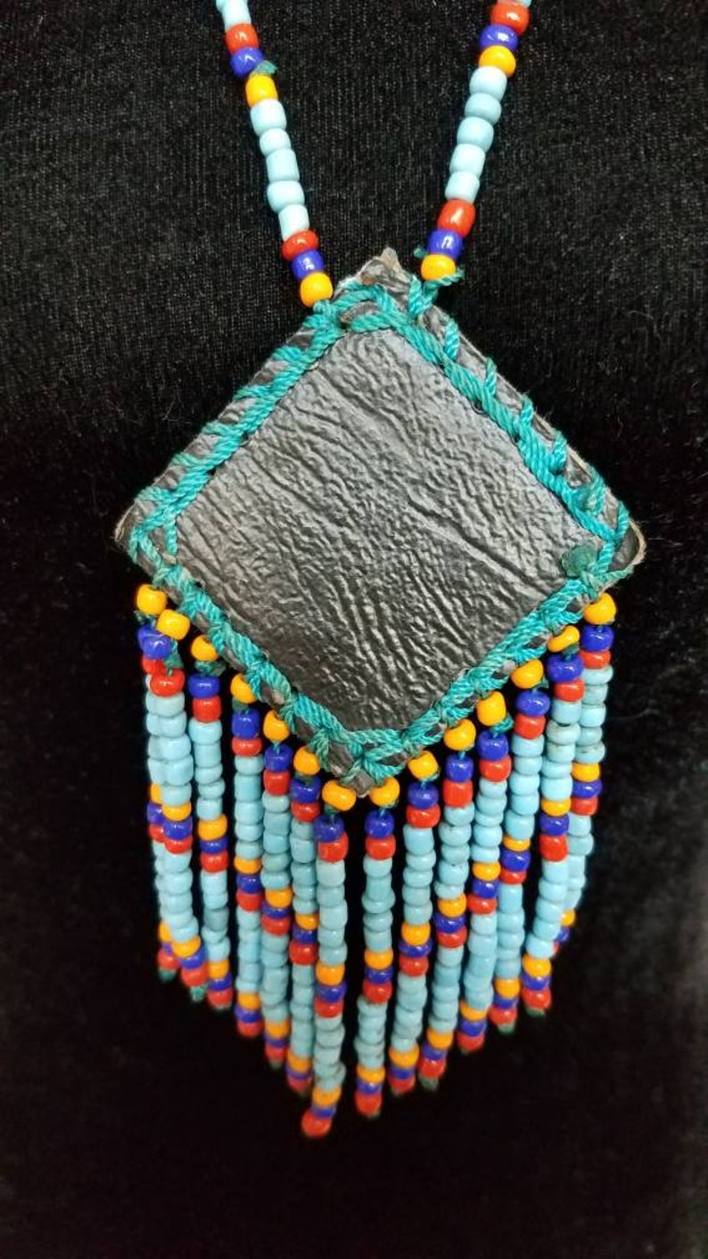 1970s Native American necklace beaded vintage Indian Chief head pendant