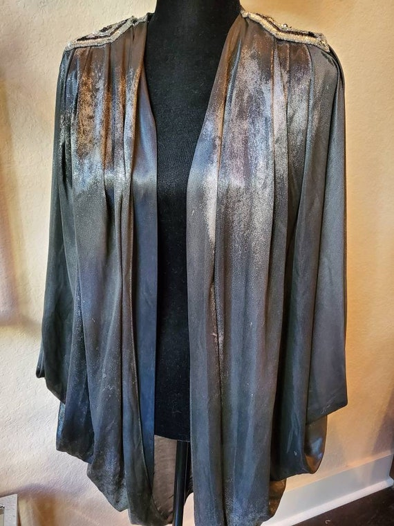 Silver sequence jacket batwing cape,  1970's