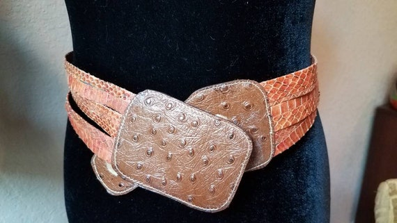 Snake ostrich belt vintage leather, 1970s