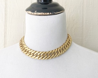 Chunky Chain Vintage Choker Necklace 1980/'s Gold Tone Necklace