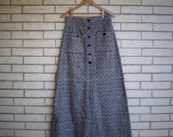 58729b7029b8 1970s Tweed Maxi Skirt Buttons Patch Pockets Vicky Vaughn Womens Vintage  Medium