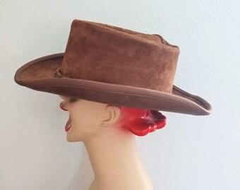 726782ecf Suede cowboy hat   Etsy