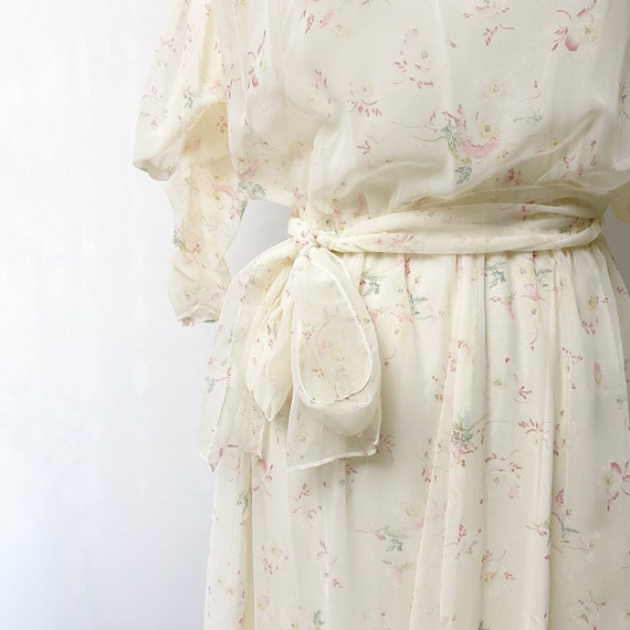 1970s Floral Sheer Dress With Slip Romantic Flora… - image 9