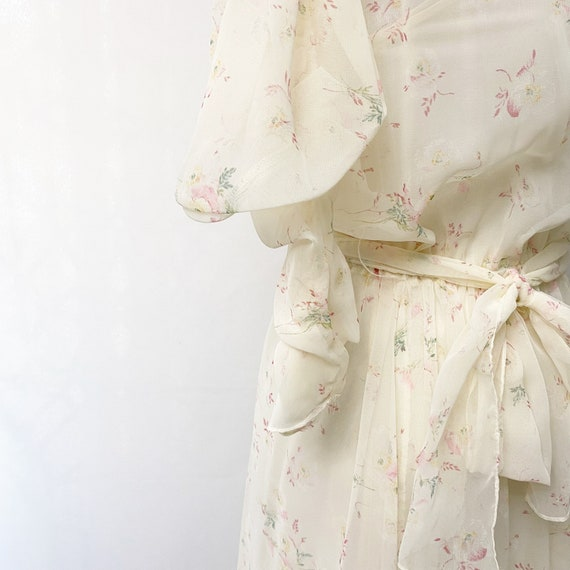1970s Floral Sheer Dress With Slip Romantic Flora… - image 7