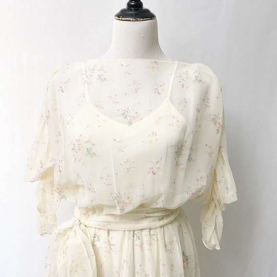 1970s Floral Sheer Dress With Slip Romantic Flora… - image 4