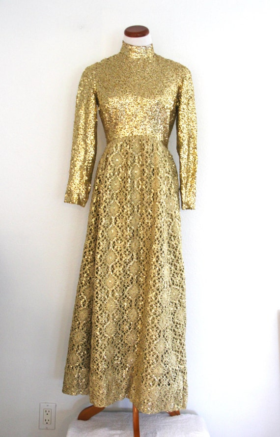 1960s Gold Formal Ball Gown Sequins Bodice Crochet
